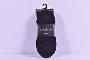 Women's bebe 6 - Pack No Show Knitted Liner Socks, Black and Tan, Size 4 - 10