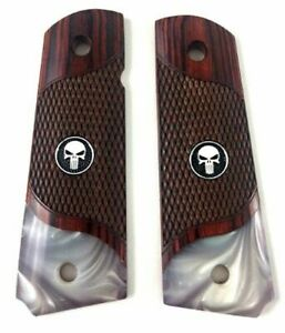 1911 Full Size Checkered Rosewood Grips Acrylic Pearl BOTTOM W/ BLACK PUNISHER