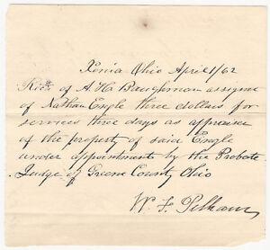 1862 Xenia Ohio Greene County Property Appraisal Receipt @ Real Estate Probate