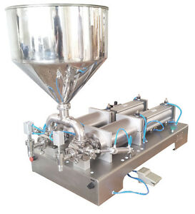 50--600ml two heads Pneumatic paste piston Filling Machine for Cream Cosmetic