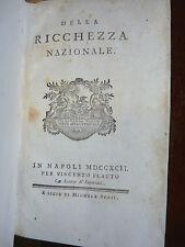 ECONOMIA - PALMIERI : DELLA RICCHEZZA NAZIONALE - NAPOLI 1792 Flauto agricoltura