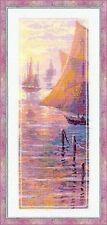 Pink Sea Sunset Scene Boat Yacht Counted Cross Stitch Kit
