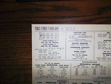 1963 Ford Fairlane Series Models 221-260 CI V8 SUN Tune Up Chart Great Shape!
