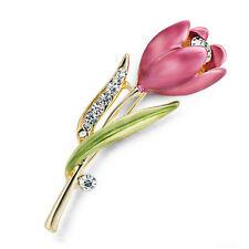 Women Vintage Brooch Rhinestone Crystal Tulip Flower Wedding Bridal Brooch PinM&
