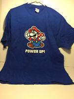 Nintendo Super Mario Bros.~ Power Up ~Blue Adult T-Shirt ~ Large