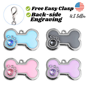 Buy 4 Get 1 Free√ Bone Bling Sparkle Cute Dog Tags Cat Tags Engrave Personalize