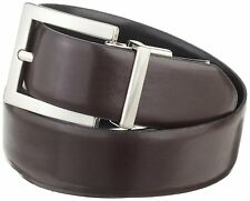 $125 Calvin Klein Men'S Brown Black Reversible Faux Leather Buckle Belt Size L