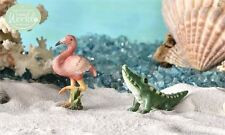 FAIRY GARDEN Miniature ~ Glow-In-The-Dark Tropical Flamingo And Alligator ~ M...