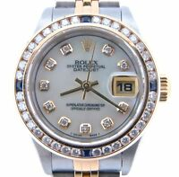 Rolex Datejust Lady 18K Yellow Gold Steel Watch White MOP Diamond Blue Sapphire