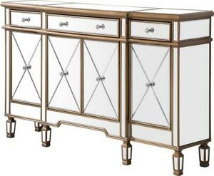 SIDE CABINET CONTEMPORARY BRUSHED STEEL GOLD CLEAR SOLID WOOD HAND-