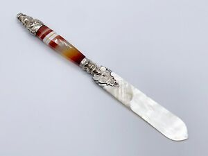 ANTIQUE SOLID STERLING SILVER LETTER OPENER SCOTTISH BANDED AGATE
