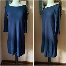 J. Crew Navy Blue Boatneck Cotton Knit Sheath Dress Casual Preppy S