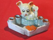Vintage porcelain lusterware google googley eyed dog ashtray, Japan