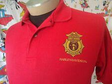 Vintage Harley Davidson Motorcycle Firefighter Red Fireman Collar Polo Shirt M