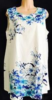 Ladies Smart SHORT Summer Dress White/Blue Floral design UK size 14-16