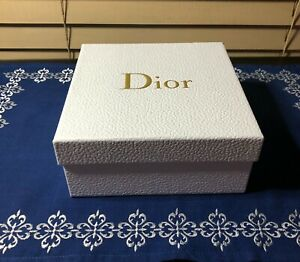 """Christian DIOR Gift Box White & Gold Pebbled Square 7"""" Brand New Immaculate"""