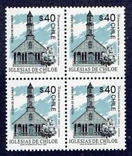 CHILE 1993 STAMP # 1603 MNH BLOCK OF FOUR HERITAGE CHILOE'S CHURCH