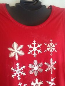 RED Cotton Blend Christmas Holiday Sleepshirt Snowflake Cacique Lane Bryant