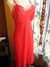 sz SMALL 34 True Vtg 50s PANDORA Lacey Full Slip  HOT RED NYLON Nighty USA