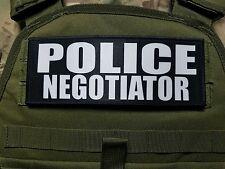"3x8"" Police Negotiator Black Hook Back Morale RAID Patch SWAT LEO Badge"