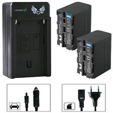 2x SK Akku für Sony NP-F970 6600mAh + Ladegerät NP-F750 | 1060386-90263-90302