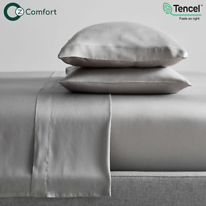Lyocell Tencel Cooling Bedsheets Ultra Soft Breathable King Bedset Silver Grey