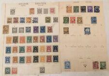 Ecuador Konvolut Lot Uralte Briefmarken auf losen Blättern, Sammlernachlass