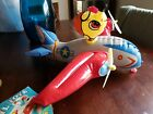 Vintage US Air Force Navy Airplane W/Pilot Head Inflatable Blow-Up Toy Japan