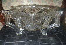 Vintage Art Deco pressed glass bowl . Hexagonal with 3 legs x handles.very heavy