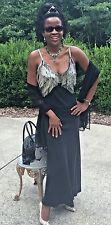 New Designer Classy Mary Green beaded Fringe Flapper black Silk dress gown S 0-6