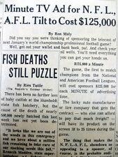 1966 newspaper 1st NFL AFL Championship SUPERBOWL I ads toCost $125,000 / minute