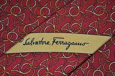 SALVATORE FERRAGAMO Necktie Horns Bugle Printed in Red Silk Men's tie