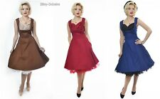 LINDY Bop Retro Vintage 50s Daria Cotton Black Swing Dress 10 - 20 14