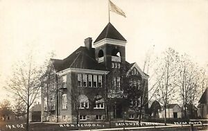 SANDUSKY Michigan postcard Sanilac County RPPC High School Pesha photo 14202