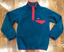 Patagonia Synchilla Snap T Pullover Jacket Fleece Teal Boys L 12 Euc