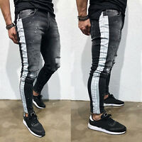 Men Skinny Jean Destroyed Ripped Stretch Fit Denim Rocker Biker Distressed Pants