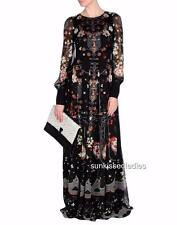 Piccione Printed Silk Gown Maxi Dress UK14  RRP1400GBP Made in Italy