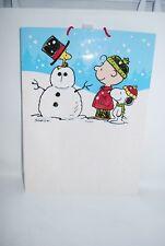 Hallmark Peanuts Charlie Brown Christmas Gift Bag Snowman Glitter 20x15x8 NEW