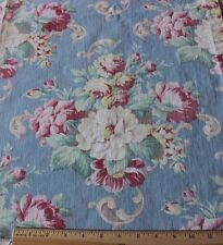 Vintage Shabby Faded Roses Cotton Fabric Barkcloth Era c1940s~Reserved