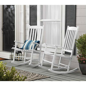 Mainstays Outdoor Wood Porch Rocking Chair, White Color, Weather Resistant Finis