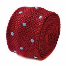 Rouge & bleu clair pois de Polka Cravate en tricot fin par Frederick Thomas