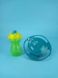 Munchkin 9 oz Spill Proof Straw Sippy Cup & Spill Proof Gyro Bowl Lot Green Blue