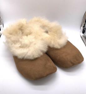 "Handmade Peruvian Unisex Baby Alpaca Leather Slippers Booties ""Light Brown"""