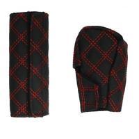 2pcs Car Leather Hand Brake Shift Knob Cover Gear Case Car Interior Decor E0Xc