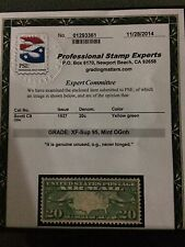 U.S. C9 AIRMAIL PSE  GRADED 95 MINT NH OG Xf-SUP  20CENT BRN PLANES AND MAP.