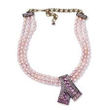 Heidi Daus Keep Sparkling Pink Pearl Crystal Drop Necklace
