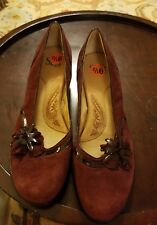 Sofft Womens maroon Suede Leather Bow Pump Heels Shoes