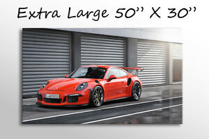 """X LARGE CANVAS WALL ART 50X30"""" RED PORSCHE 911 GT3 RS CAR PICTURE STUNNING PRINT"""