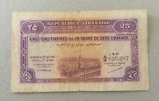 Lebanon 25 Piastres NOTE 1944 Hard To Find Rare Note F A/4 626,287