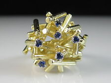18K Modernist Blue Sapphire Ring Yellow Gold Fine Jewelry Contemporary Size 4.25